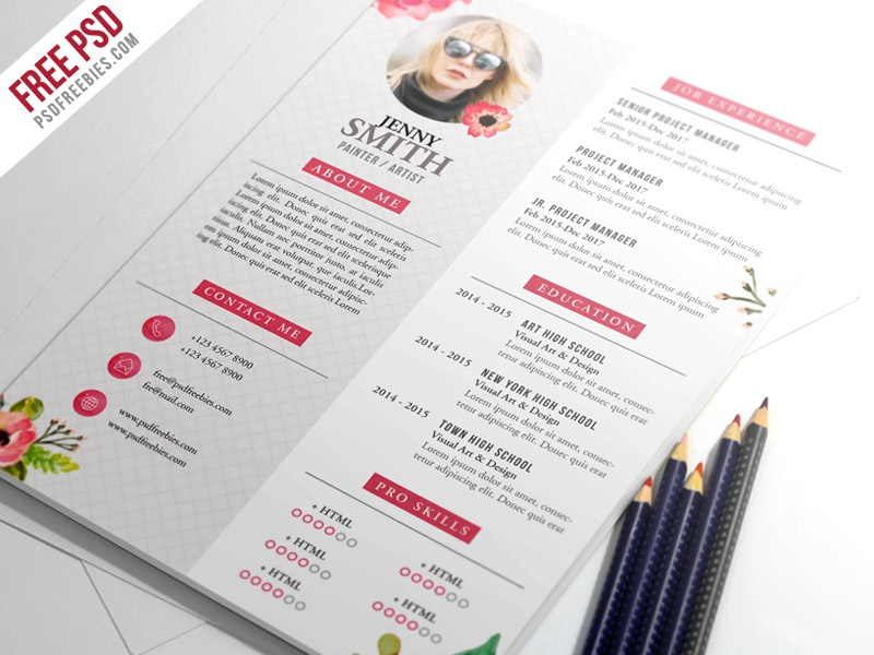 painter artist cv resume template psd - Great free creative resume template (psd id)