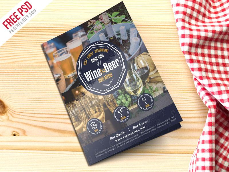 free psd beer and wine menu bi fold brochure psd by psd freebies