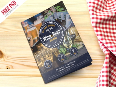 free psd beer and wine menu bi fold brochure psd