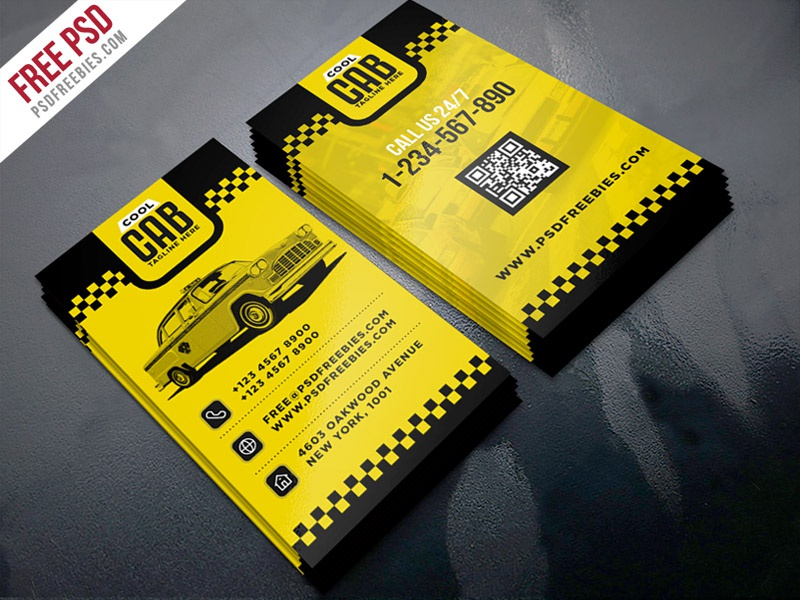 Free PSD : Taxi Cab Service Business Card Template PSD