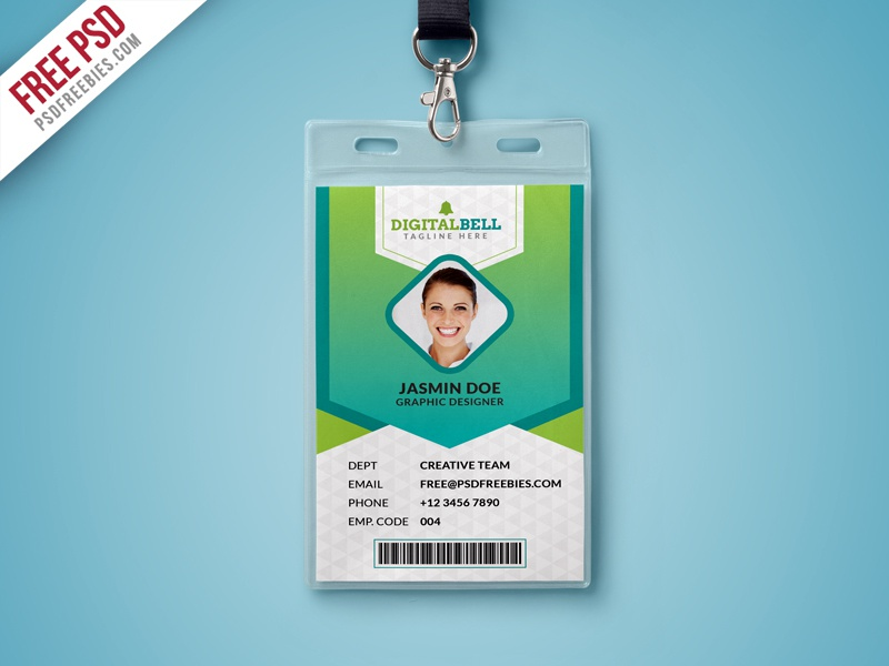 Free psd multipurpose photo identity card template psd for University id card template