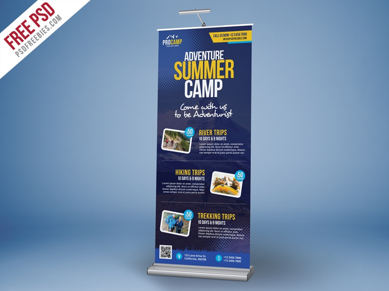Free PSD : Adventure Summer Camp Roll-Up Banner Template free template advertisement standy banner rollup school camp kids summer holidays summer camp freebie psd free psd