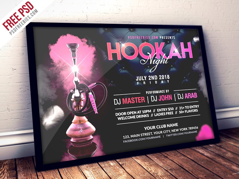 Free PSD : Hookah Night Party Flyer PSD Template