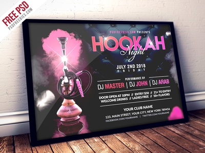 Free Psd Hookah Night Party Flyer Psd Template By Psd Freebies