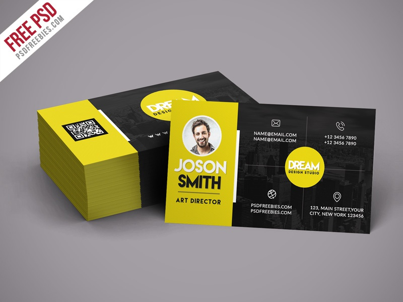 Free PSD Creative Design Studio Business Card Template By PSD - Cool business cards templates