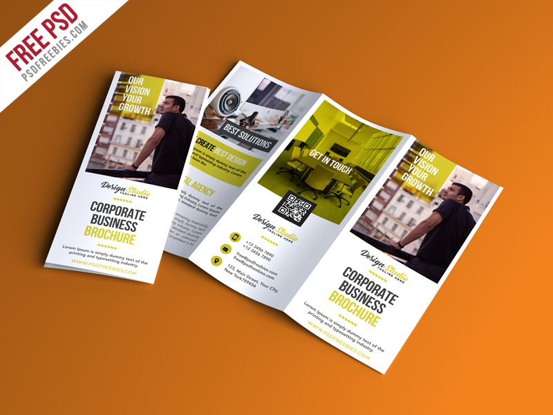 Free PSD : Professional Trifold Brochure PSD Template