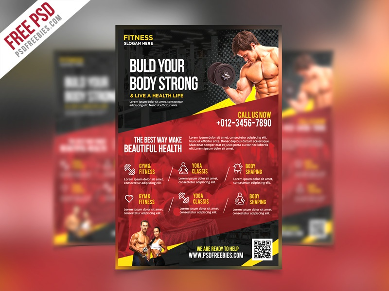 Free PSD : Fitness and Gym Flyer PSD Template
