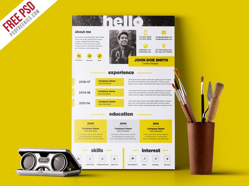 Free PSD : Creative and Elegant Resume Template PSD