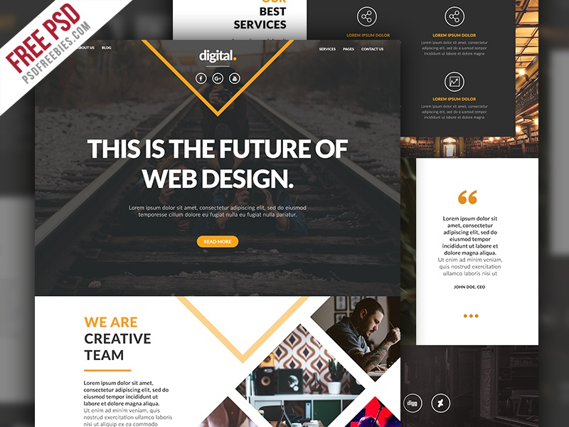 Free PSD : Businesses and Agencies Website Template PSD