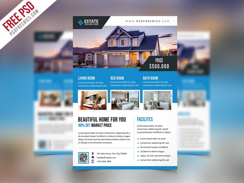 Free PSD : Clean Real Estate Flyer PSD Template
