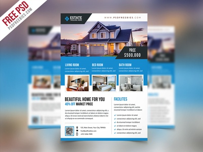 real estate brochure templates psd free download - free psd clean real estate flyer psd template by psd