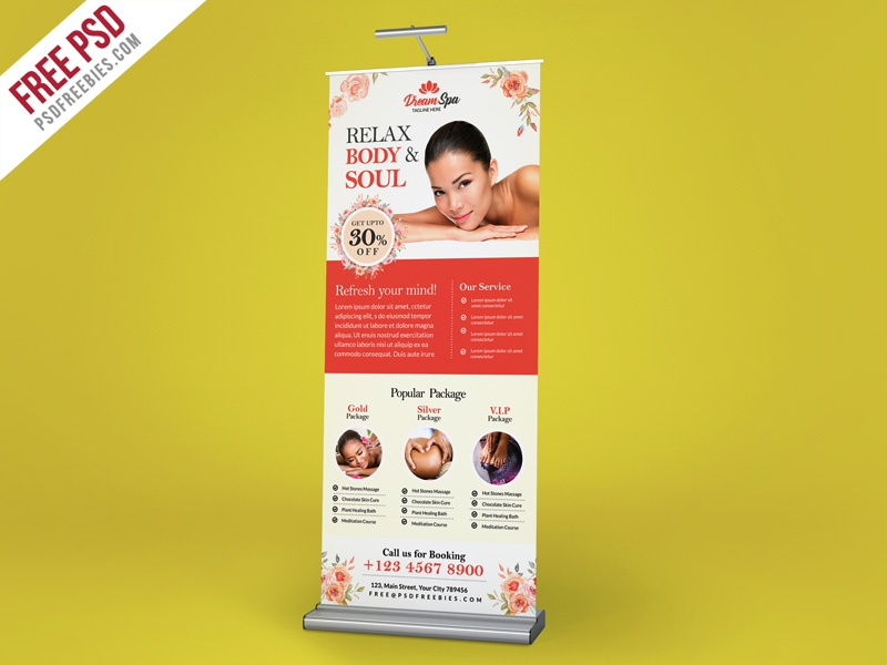 Free PSD : Beauty and Spa Roll-up Banner Template PSD