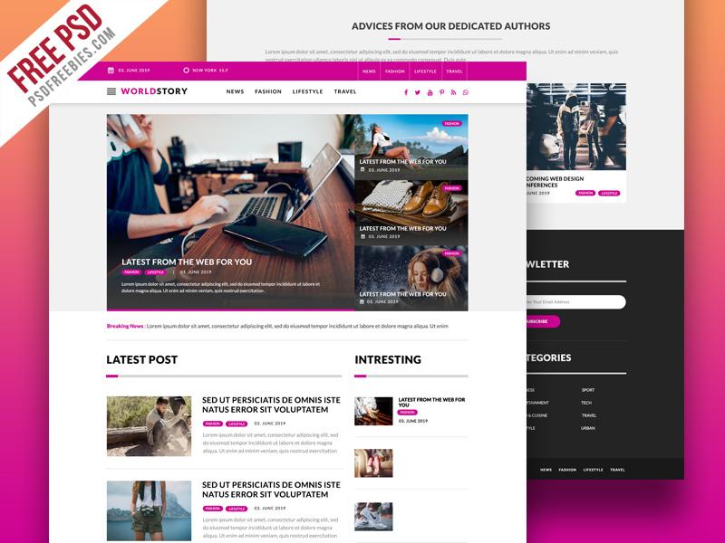 Free PSD : Multipurpose Magazine Blog Web Template PSD