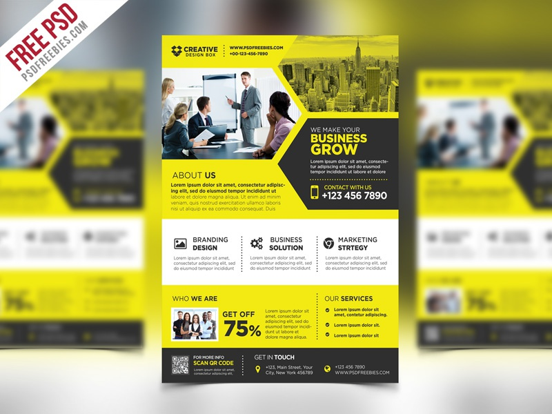 free psd corporate business promotional flyer psd template by psd