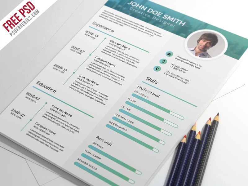 Free PSD : Elegant and Modern CV Resume PSD Template