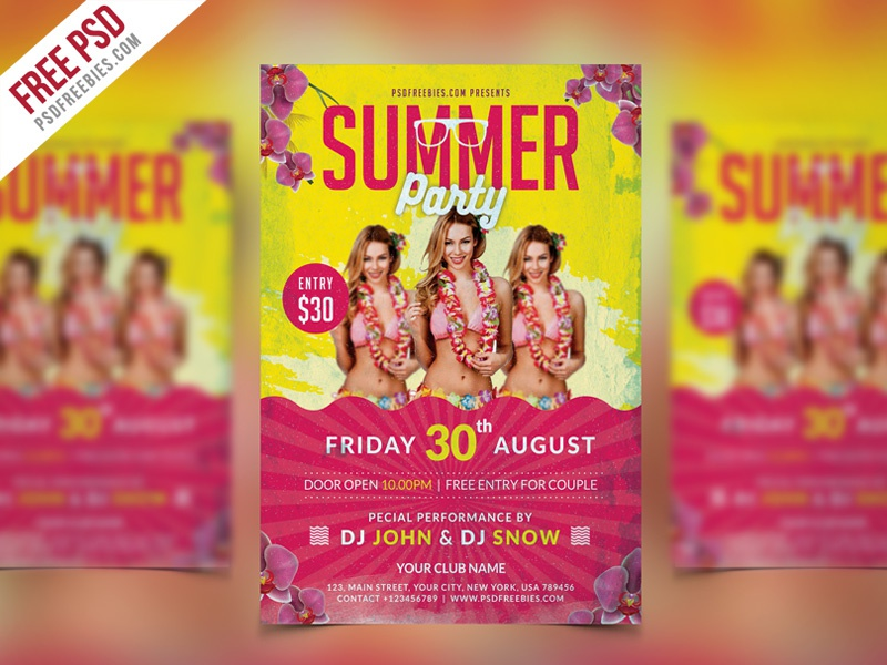 Free PSD : Summer Party Flyer Template PSD