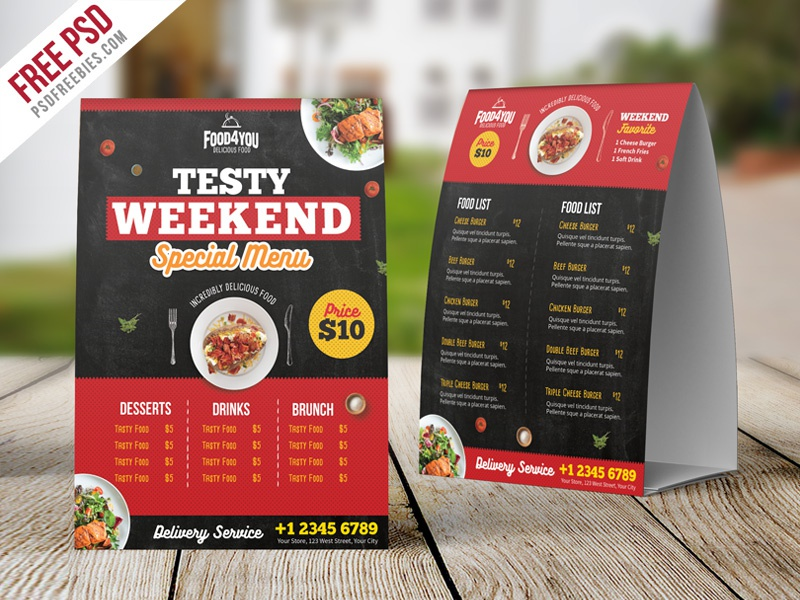Free PSD Restaurant Table Tent Menu PSD Template By PSD Freebies - Restaurant table advertising