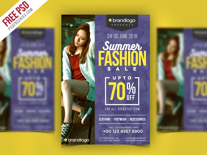 Free PSD : Summer Fashion Sale Flyer PSD Template