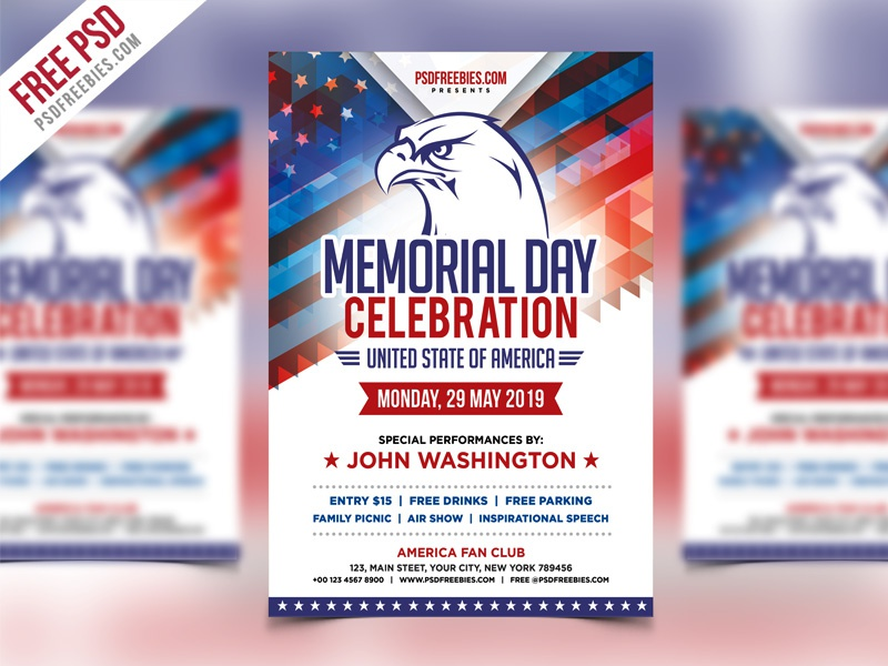 Free PSD : America Memorial Day Event Flyer Template PSD