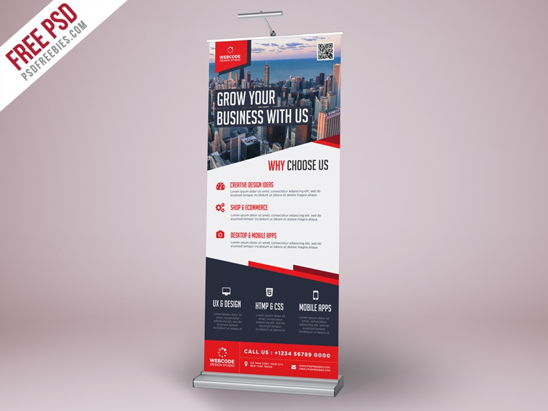 Free PSD : Corporate Advertisement Roll-Up Banner Template