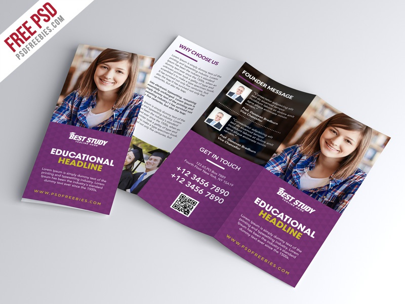 Free psd university college trifold brochure psd for Pamphlet photoshop template