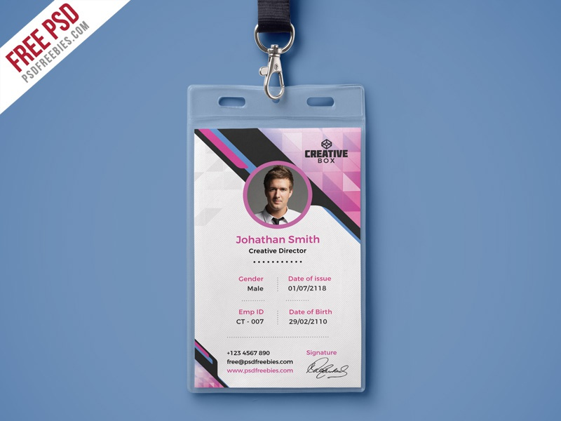 Free Psd : Company Photo Identity Card Psd Template By Psd
