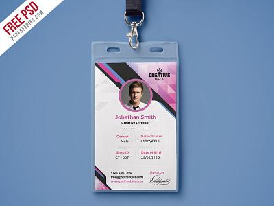 Free PSD : Company Photo Identity Card PSD Template employee id office id psd template photo id card office id card design free template identity card id card freebie psd free psd