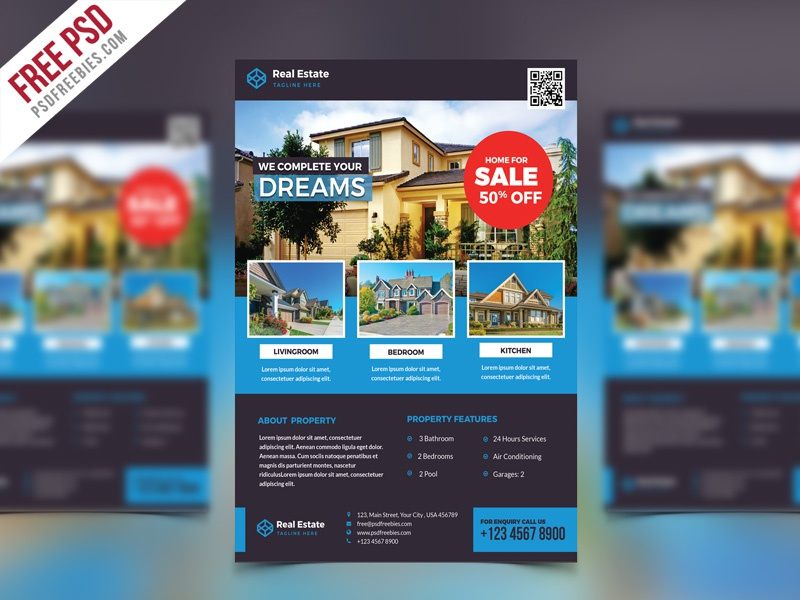 Free PSD : Real Estate Flyer PSD Template
