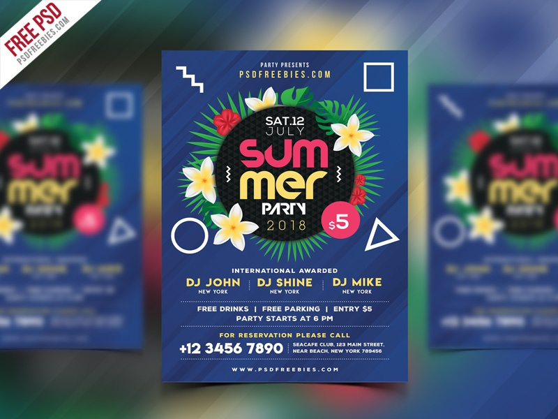 Free PSD : Summer Beach Party Flyer PSD Template