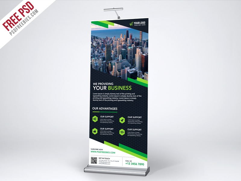 Free Psd Multipurpose Creative Roll Up Banner Template Psd
