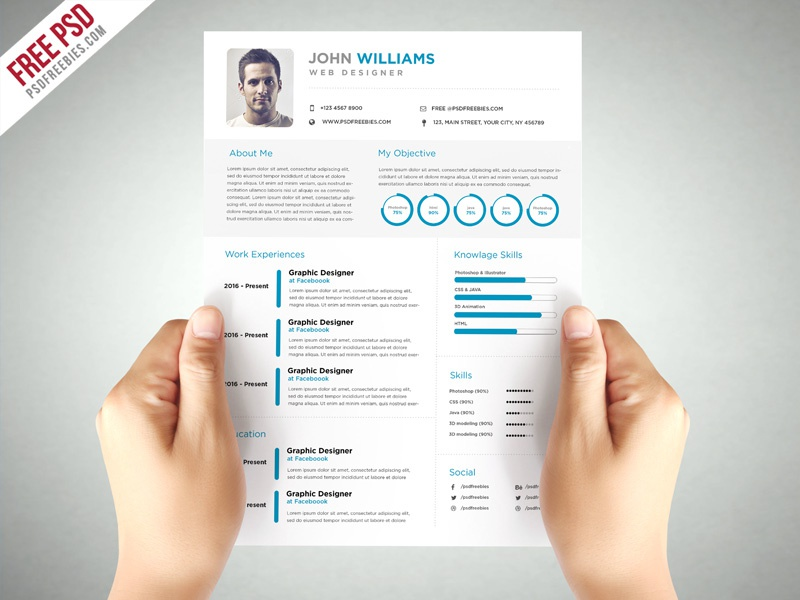 free psd   clean and elegant resume template psd by psd freebies on dribbble