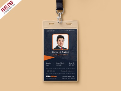 Free PSD : Vertical Company Identity Card Template PSD free psd psd freebie id card identity card free template design office id card photo id card psd template office id employee id