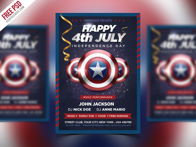 Free PSD : 4th of July Event Flyer PSD Template Bundle