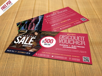 Free PSD : Sale Discount Voucher PSD Template  Free Discount Vouchers