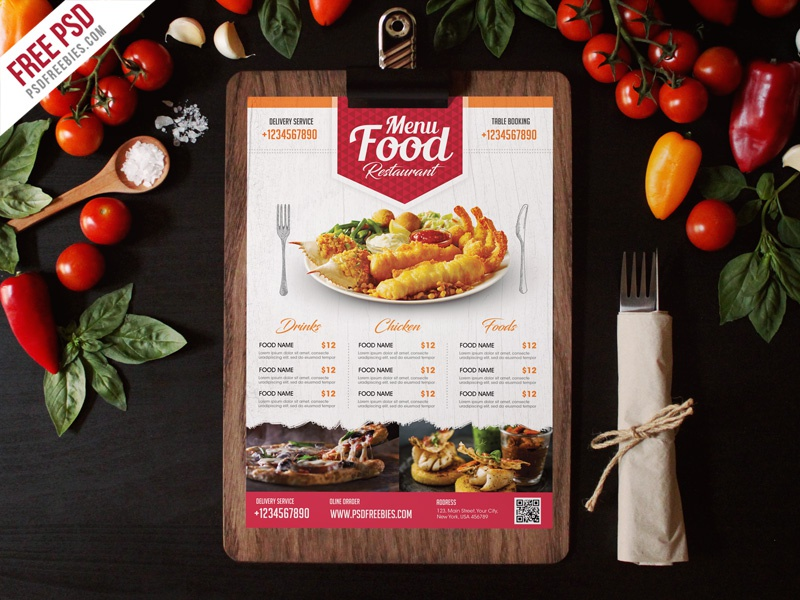 Free Psd Simple Restaurant Food Menu Flyer Template By Psd