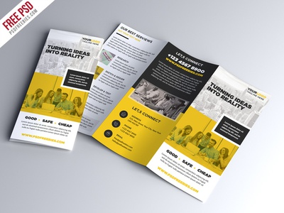 Free PSD Multipurpose Trifold Brochure PSD Template By PSD - Brochure photoshop template