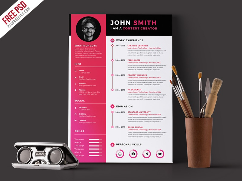 free psd   modern resume cv template psd by psd freebies