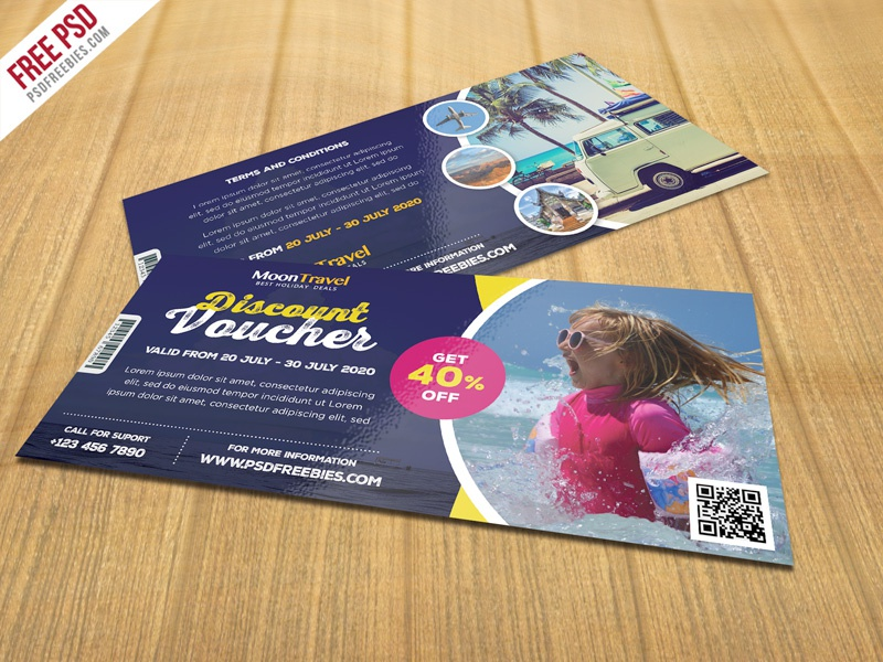 Free PSD Travel And Trip Discount Voucher Template Creative Design Package