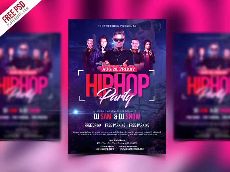 free psd hiphop party invitation flyer psd template by psd