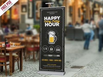 Free PSD : Happy Hour Promotion Roll-up Banner PSD