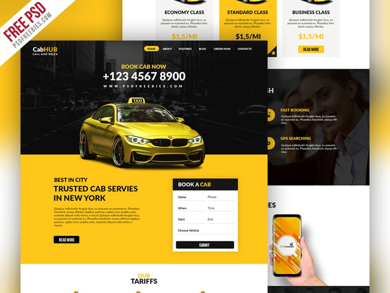 Free PSD : Taxi Cab Service Company Website Template by PSD Freebies