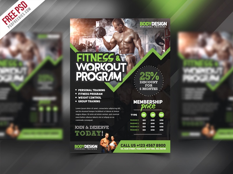 Free PSD : Gym Fitness Workout Program Flyer PSD Template