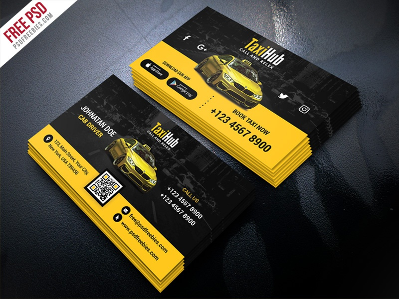 Free PSD : Cab Taxi Services Business Card Template