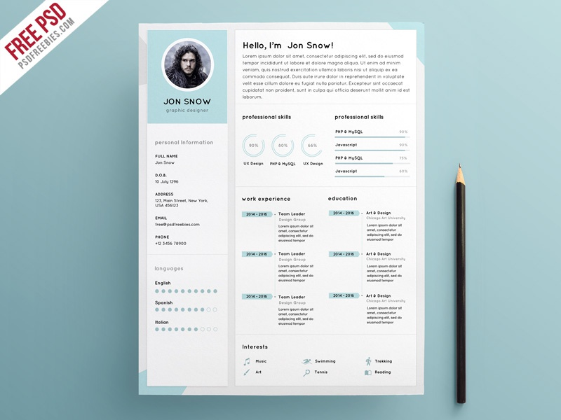 free psd   clean resume cv template psd template by psd freebies