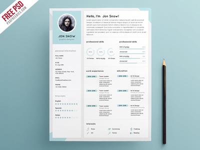 Free PSD : Clean Resume CV Template PSD Template