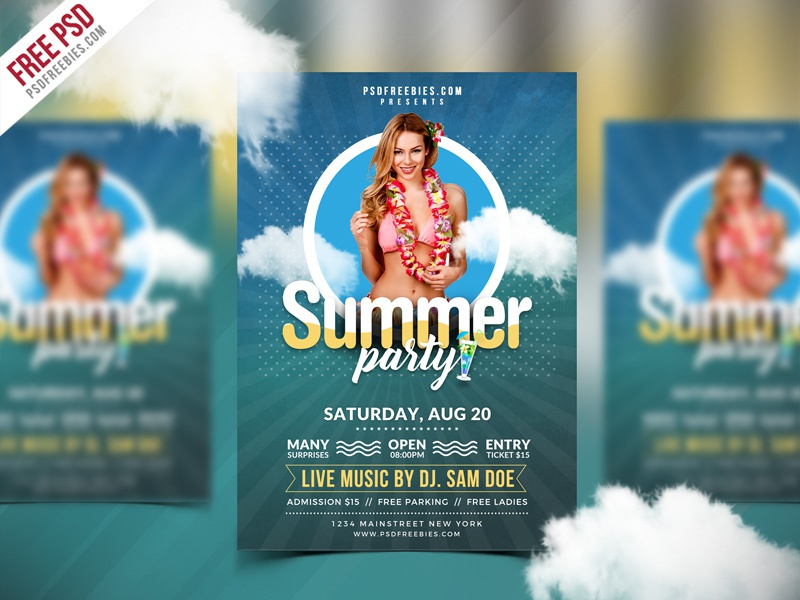 Free PSD : Best Summer Party Flyer PSD Template