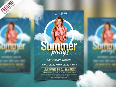 Free PSD : Best Summer Party Flyer PSD Template beach party festival flyer event flyer print template creative design template free flyer party flyer summer party freebie psd free psd