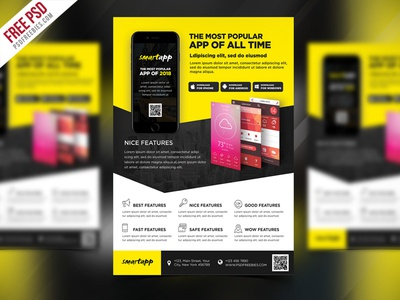 Free Psd Mobile App Promotion Flyer Template Psd By Psd Freebies