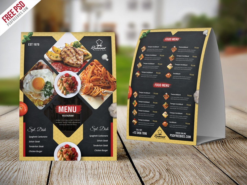 Free PSD : Restaurant Menu Table Tent Card PSD Template