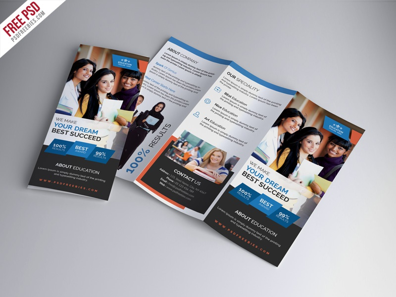 Free University Education Tri Fold Brochure Psd Template By Psd